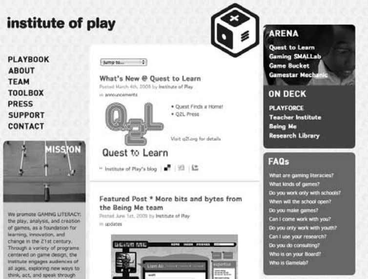 Figure 2.8 Screenshot of Gamelab Institute of Play.