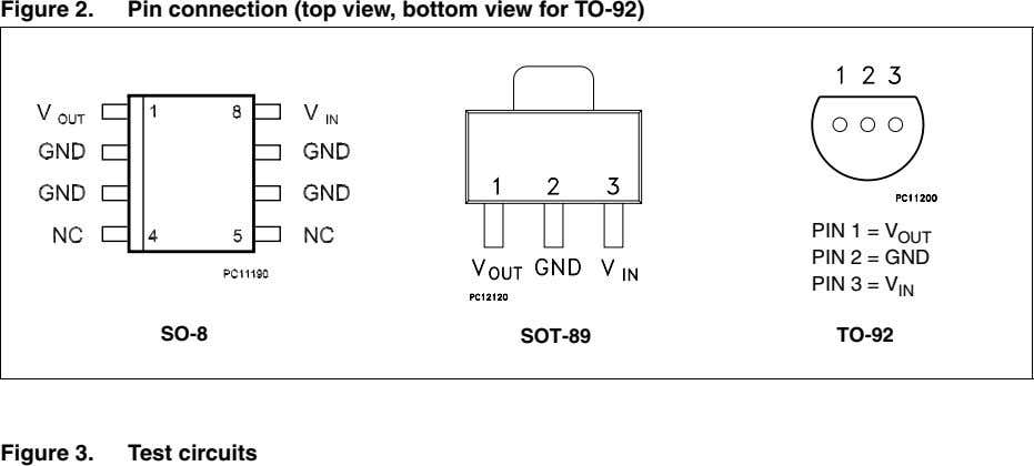 Figure 2. Pin connection (top view, bottom view for TO-92) PIN 1 = V OUT