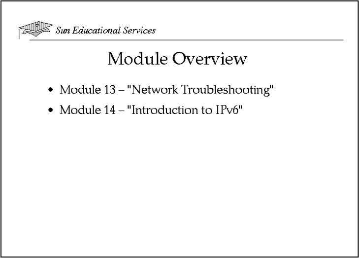 "Module-by-Module Overview ● Module 13 – ""Network Troubleshooting"" In this module, you learn basic network"