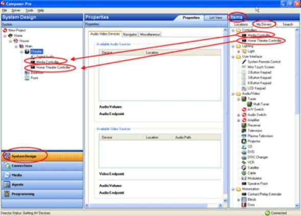 Composer Pro User Guide 7. Click the Connections view. 8. In the Connections view, select the