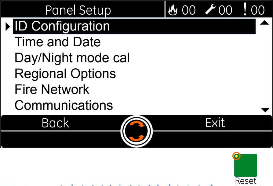   ID Configuration Time and Date Day/Night mode cal Regional Options Fire Network Communications