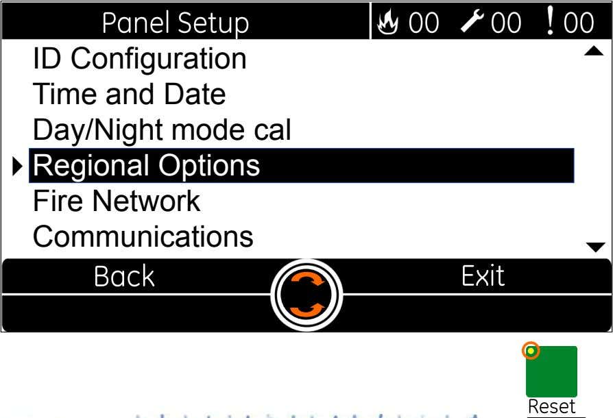  ID Configuration Time and Date Day/Night mode cal  Regional Options Fire Network Communications