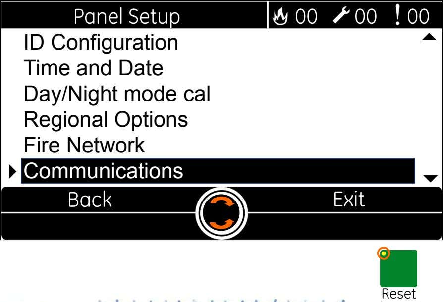  ID Configuration Time and Date Day/Night mode cal Regional Options Fire Network  Communications