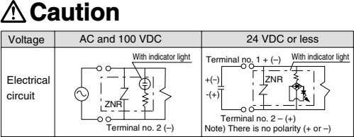Caution Voltage AC and 100 VDC 24 VDC or less Terminal With indicator light With
