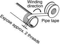 Winding direction Pipe tape Expose approx. 2 threads