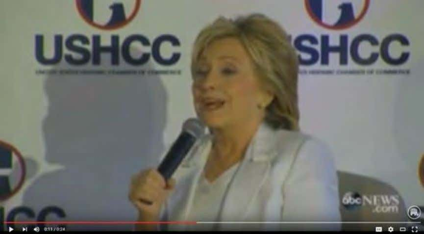 Remarks At The Hispanic Chamber Of Commerce , 10/15/15) Click To Watch Clinton's Tone On Trade