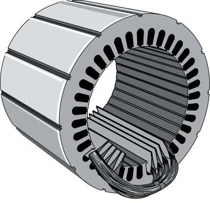Coils.of.insulated.wire.are.inserted.into.slots.of.the. Stator Windings Partially Completed