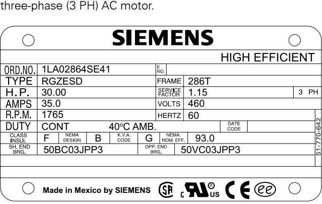 three-phase.(3.PH).AC.motor HIGH EFFICIENT 1LA02864SE41 RGZESD 286T 30.00 1.15 35.0 460 1765 60 CONT 40 o
