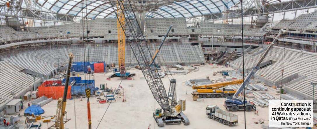 Construction is continuing apace at Al Wakrah stadium, in Qatar. (Olya Morvan/ The New York