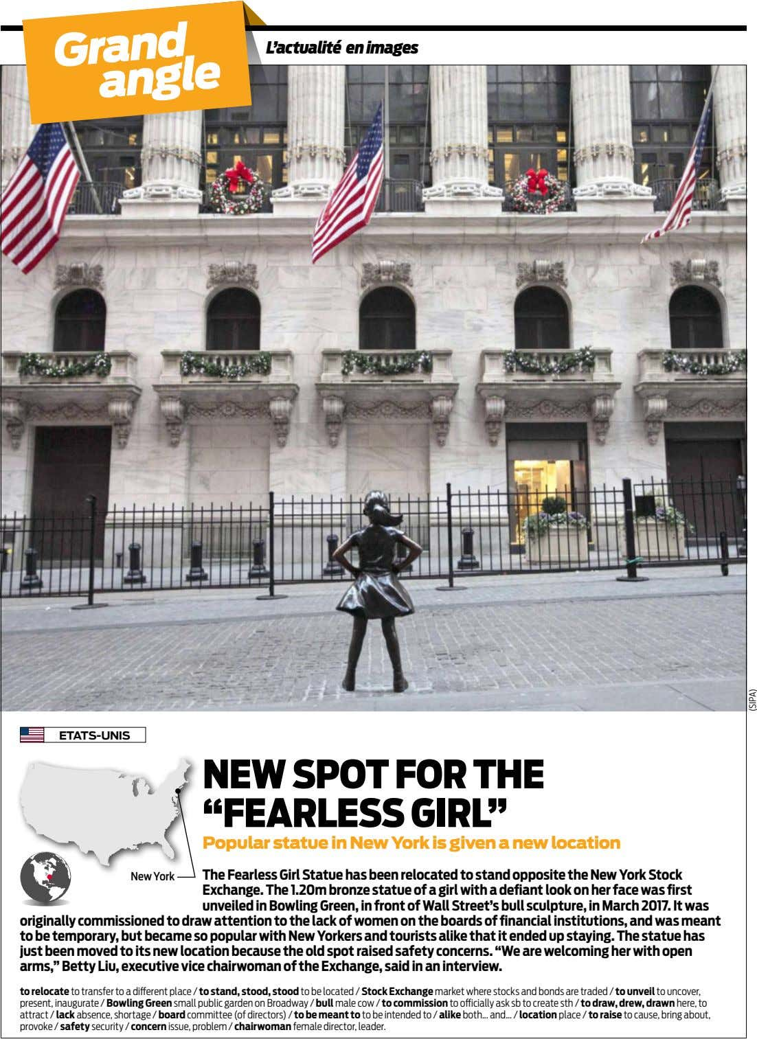 "L'actualité en images Grand angle ETATS-UNIS NEW SPOT FOR THE ""FEARLESS GIRL"" Popular statue in"
