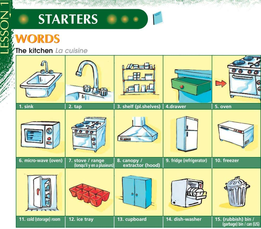 STARTERS WORDSWORDS The kitchen La cuisine 1. sink 2. tap 3. shelf (pl.shelves) 4.drawer 5.