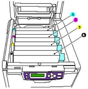 cover fully. 2. Note the positions of the four cartridges. 1. Cyan cartridge 2. 3. Magenta