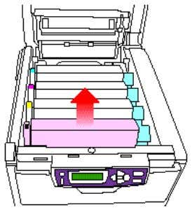 5. On the Right hand side of the toner look for a sensor patch, make