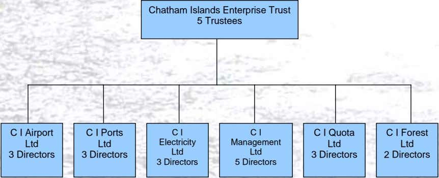 Chatham Islands Enterprise Trust 5 Trustees C I Airport Ltd 3 Directors C I Ports