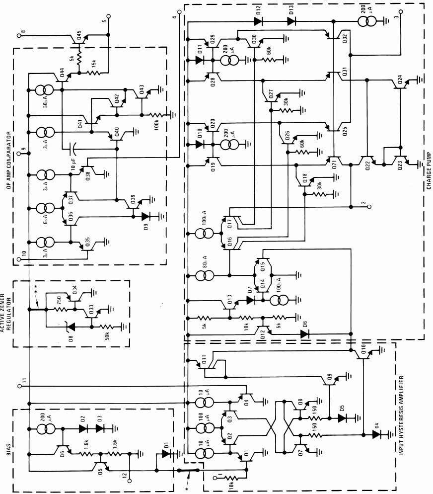 made on LM2907-8 and LM2917-8 only. **This connection made on LM2917 and LM2917-8 only. Equivalent Schematic