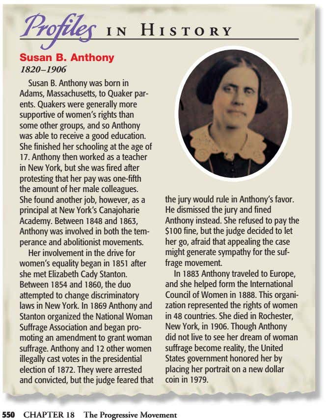 in in History History Susan B. Anthony Susan B. Anthony 1820–1906 1820–1906 Susan B. Anthony was