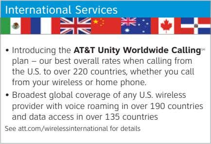 International Services • Introducing the AT&T Unity Worldwide Calling SM plan – our best overall