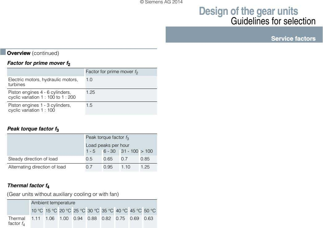 © Siemens AG 2014 Design of the gear units Guidelines for selection Service factors ■