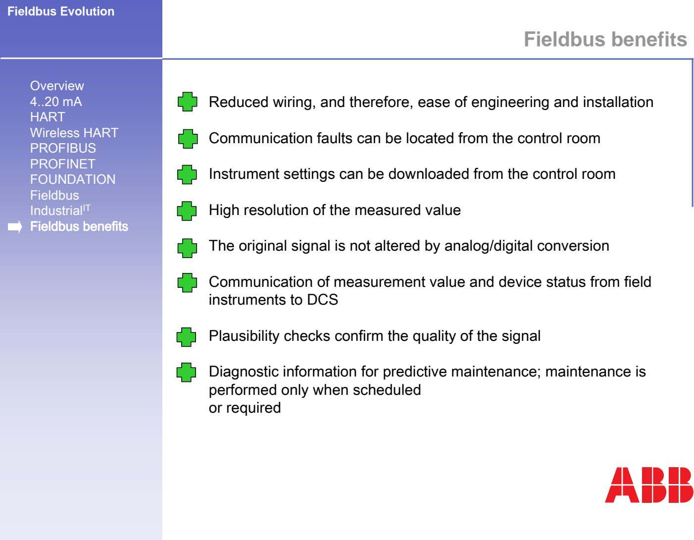 Fieldbus Evolution Fieldbus benefits Overview 4 20 mA Reduced wiring, and therefore, ease of engineering