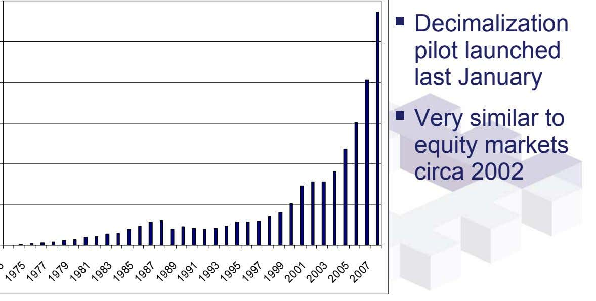 Decimalization pilot launched last January Very similar to equity markets circa 2002