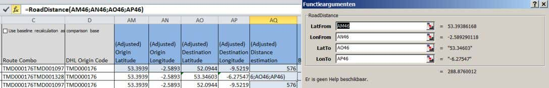 in/copy across than a nasty long standard formula in Excel Public Function RoadDistance(LatFrom As Range, LonFrom