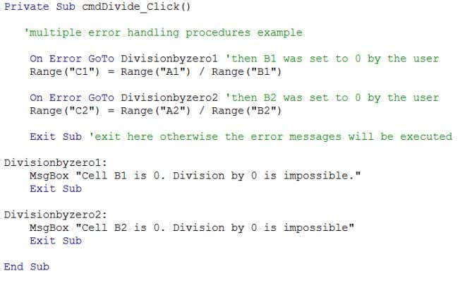 Use GoTo to bypass code. Often used in combination with On 43 Error