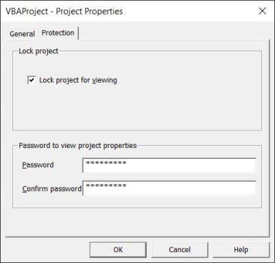 project for viewing and setting a password • Do not forget your password, and give it