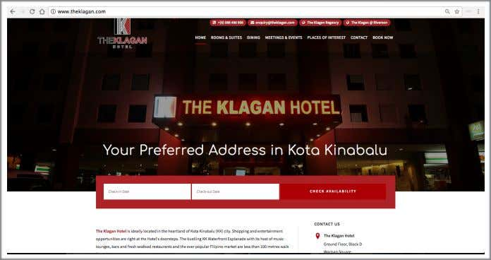 rooms, check the availability dates, promotions, and events. Image 1.4 The Klagan Hotel's Official Website Page
