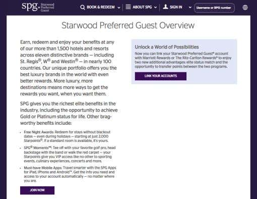 good to maintain the loyalty of a customer towards the service. Image 1.14 Starwood Preferred Guest