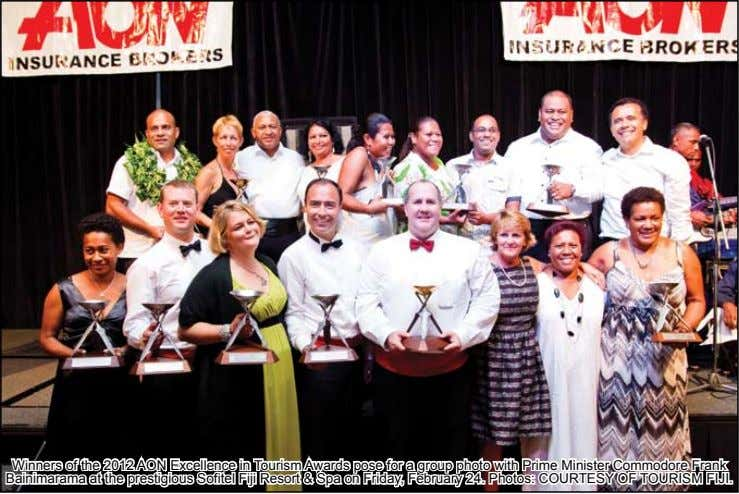 Winners of the 2012 AON Excellence in Tourism Awards pose for a group photo with Prime