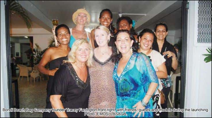 Bondi Beach Bag Company founder Tracey Farrington,front right, with friends, guests and models during the launching.