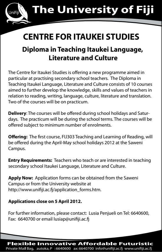 CENTRE FOR ITAUKEI STUDIES Diploma in Teaching Itaukei Language, Literature and Culture The Centre for Itaukei