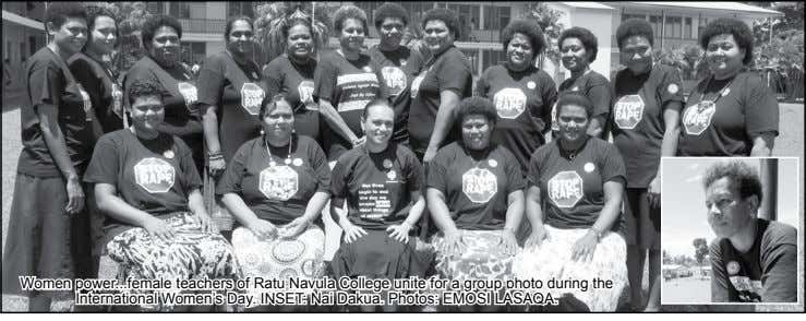 Women power ... female teachers of Ratu Navula College unite for a group photo during the