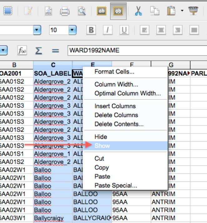 Highlight the columns on each side of the invisible column, then right click (Control-Click) and