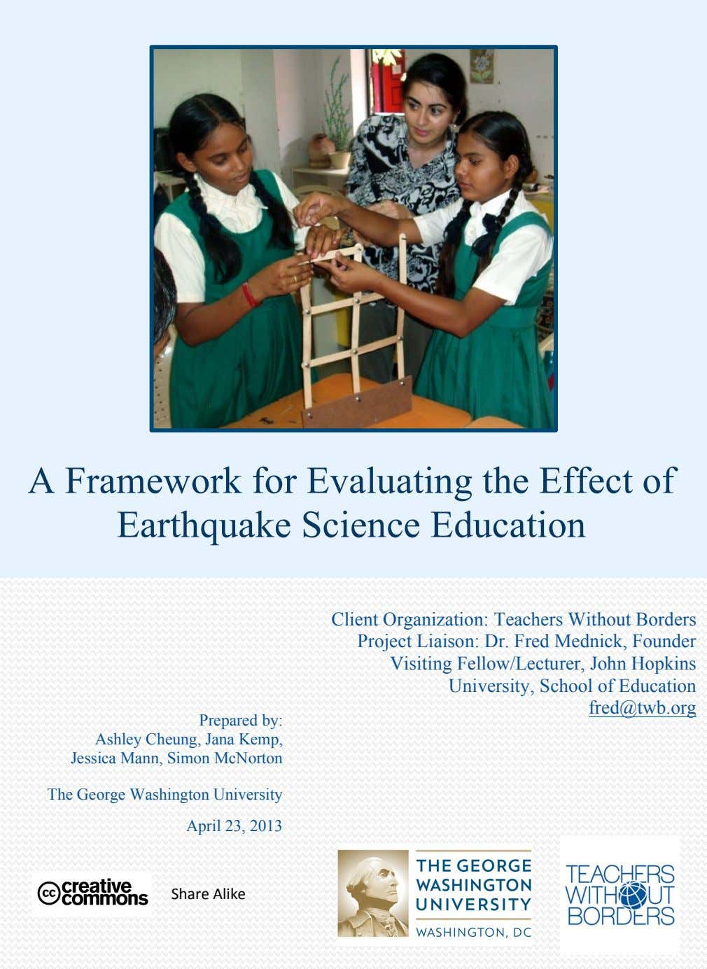 A Framework for Evaluating the Effect of Earthquake Science Education Client Organization: Teachers Without Borders