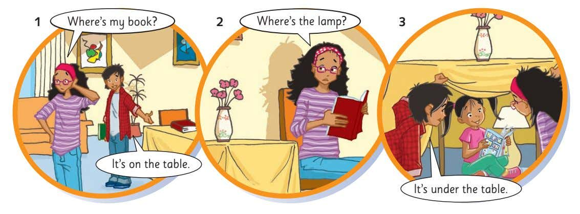 1 Where's my book? 2 Where's the lamp? 3 It's on the table. It's under