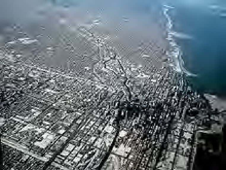 An aerial view of a human ecosystem. Pictured is the city of Chicago Central to