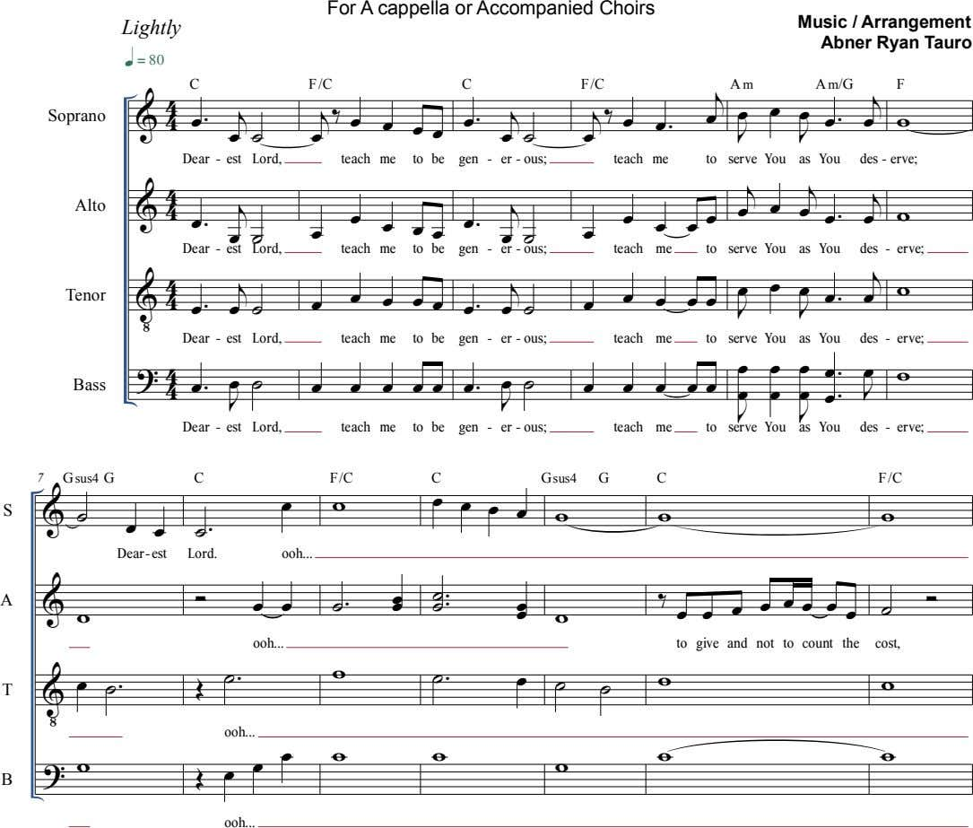 For A cappella or Accompanied Choirs Lightly Music / Arrangement Abner Ryan Tauro  C F/C