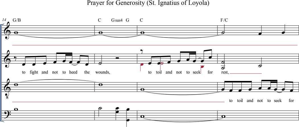 Prayer for Generosity (St. Ignatius of Loyola) 14 G/B C Gsus4 G C F/C  