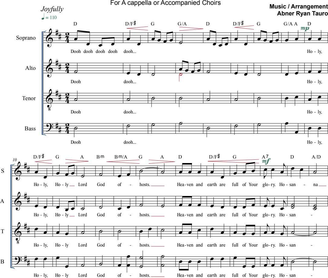 For A cappella or Accompanied Choirs Joyfully Music / Arrangement Abner Ryan Tauro  D D/F