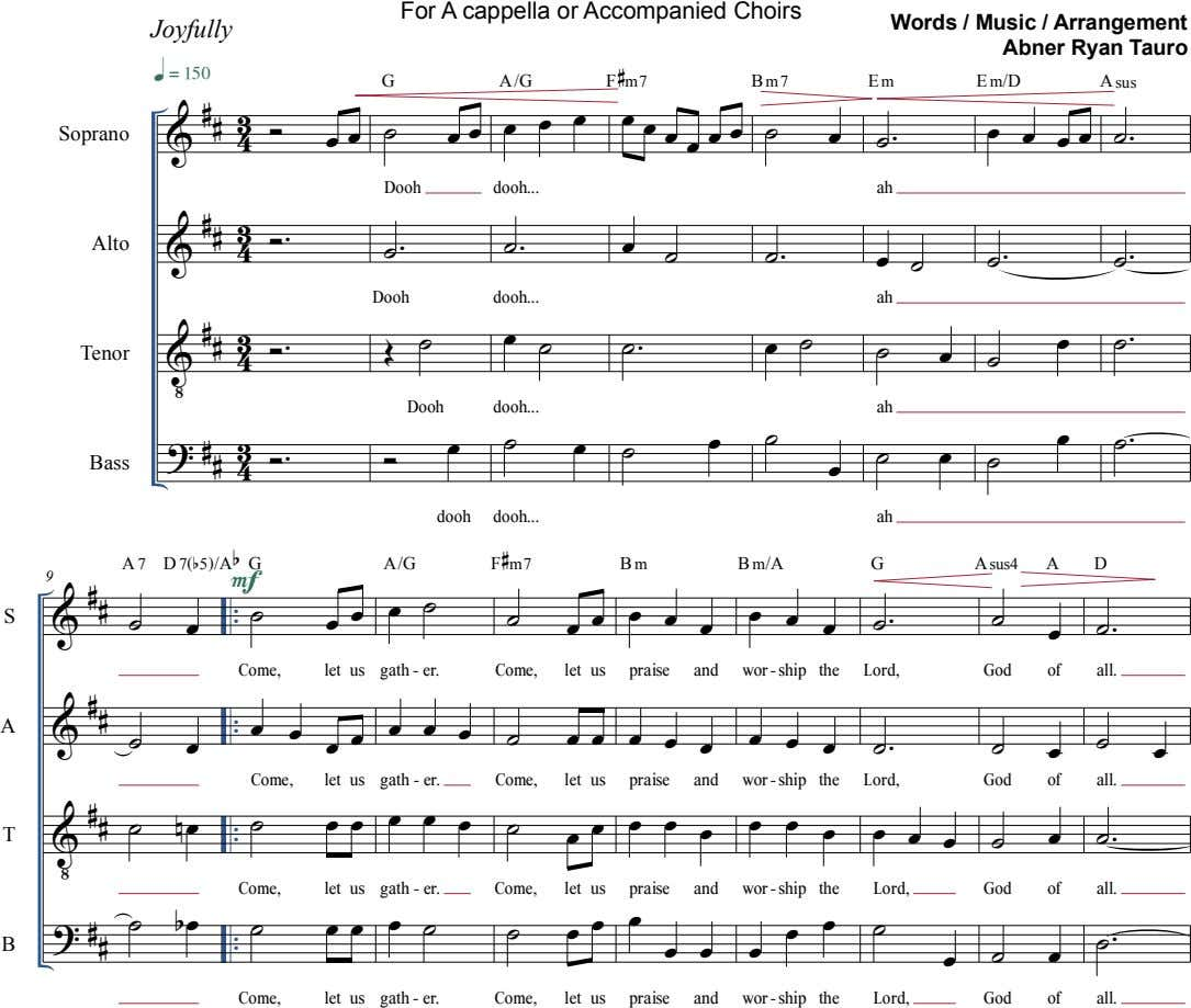 For A cappella or Accompanied Choirs Joyfully Words / Music / Arrangement Abner Ryan Tauro 