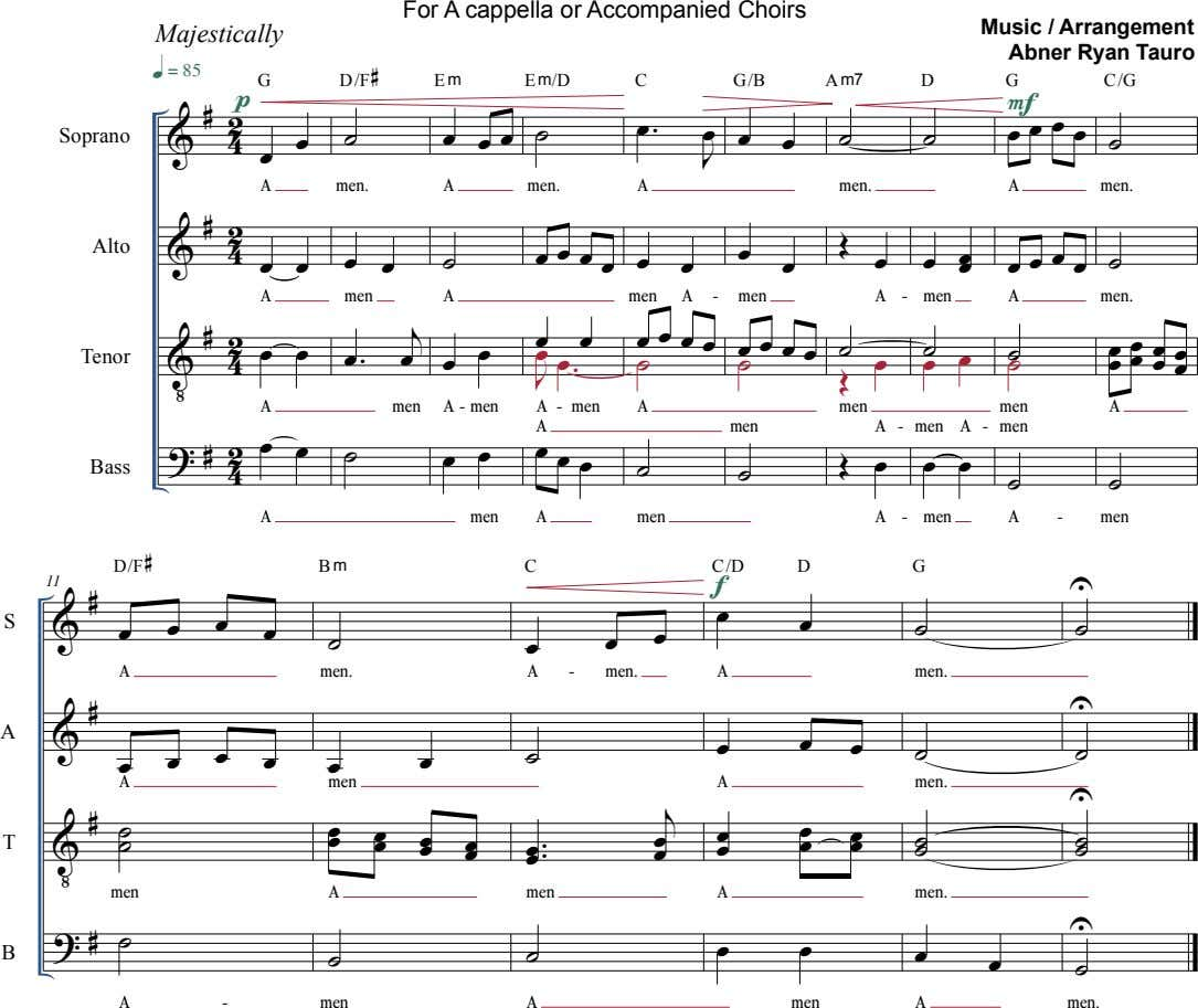 For A cappella or Accompanied Choirs Majestically Music / Arrangement Abner Ryan Tauro  G D/F