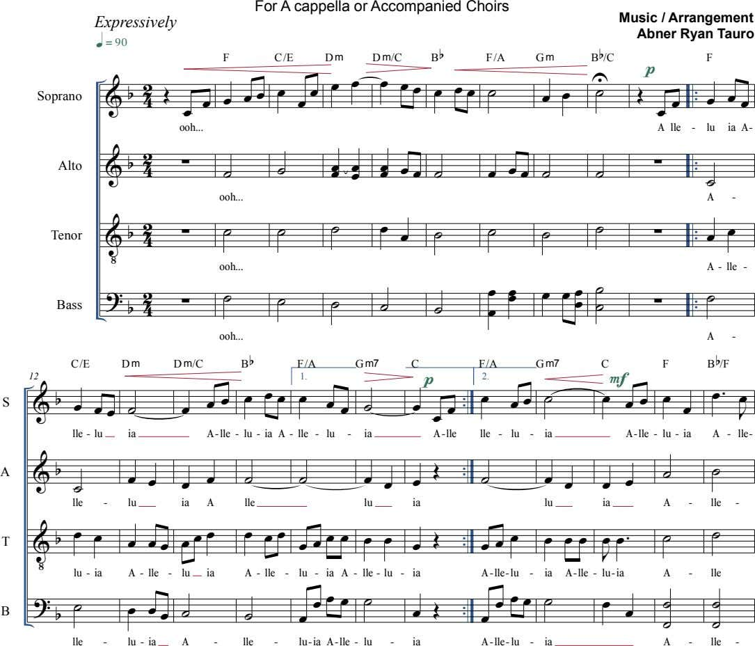 For A cappella or Accompanied Choirs Expressively Music / Arrangement Abner Ryan Tauro  B 