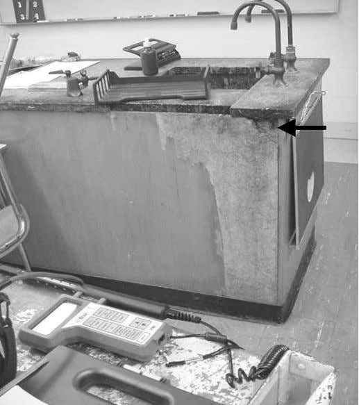 Picture 10 Water Damaged Sink Cabinet, Note Blackening of Particleboard, Which May Indicate Mold Growth (See
