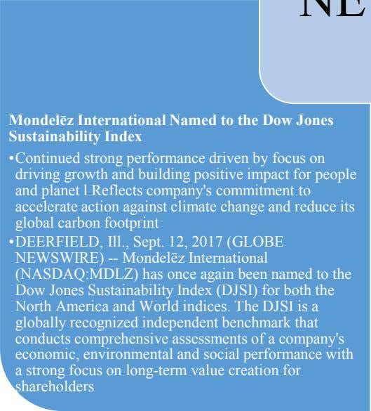 Mondelēz International Named to the Dow Jones Sustainability Index •Continued strong performance driven by focus