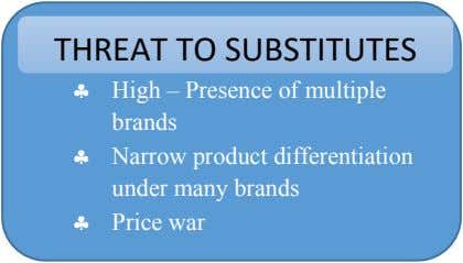 THREAT TO SUBSTITUTES  High – Presence of multiple brands  Narrow product differentiation under