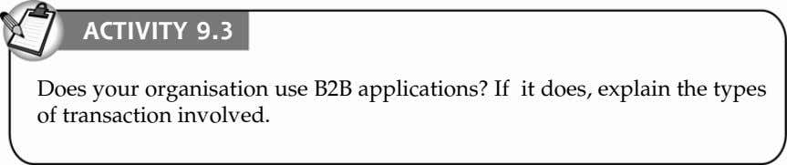 ACTIVITY 9.3 Does your organisation use B2B applications? If it does, explain the types of