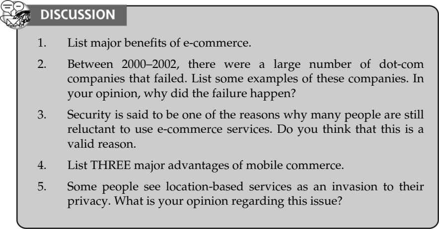 1. List major benefits of e-commerce. 2. Between 2000 2002, there were a large number