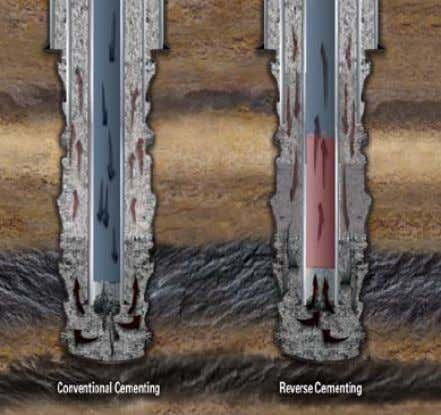 a shorter time to execute since no displacement is done. FIGURE 11: Conventional vs. reverse cementing