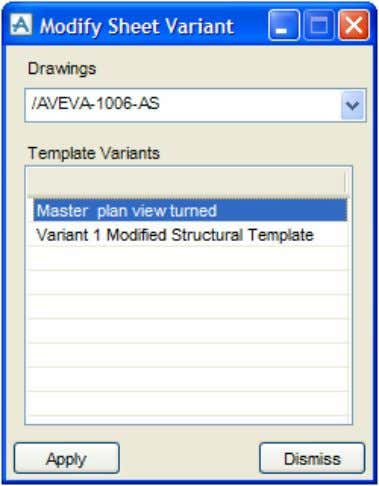 button. The Modify Sheet Variant form is displayed. If multiple drawings have been selected, switch between